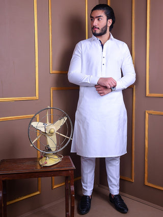 The Cress - White Kurta Pajama With Blue Lace