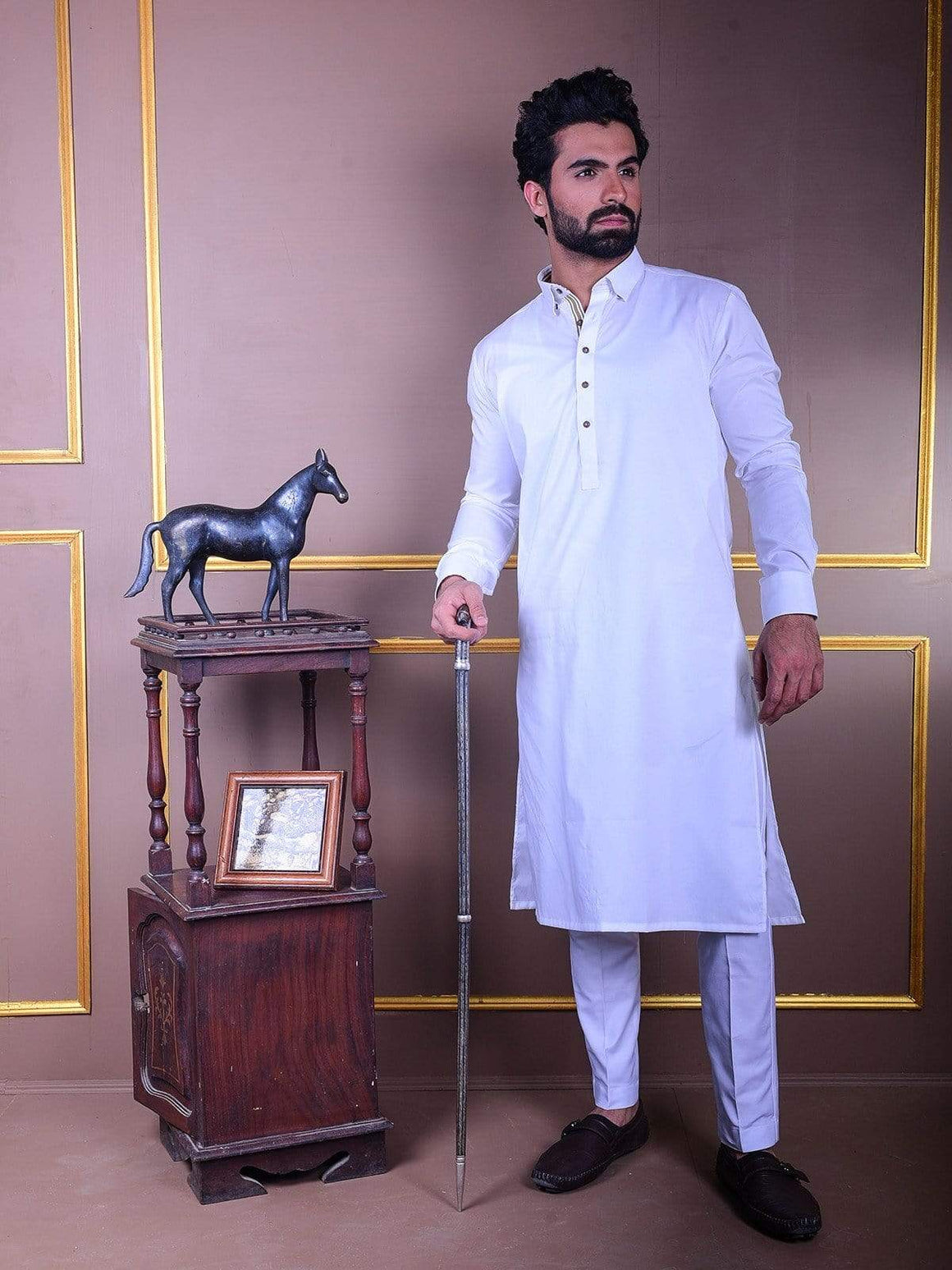 The Cress - White Kurta Pajama With Fawn Lace