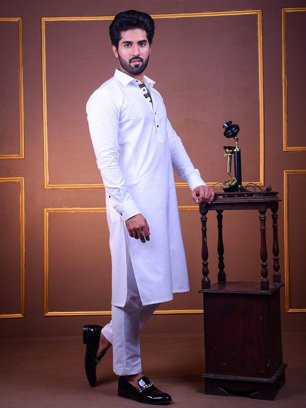 The Cress - White Kurta Pajama With Black Lace