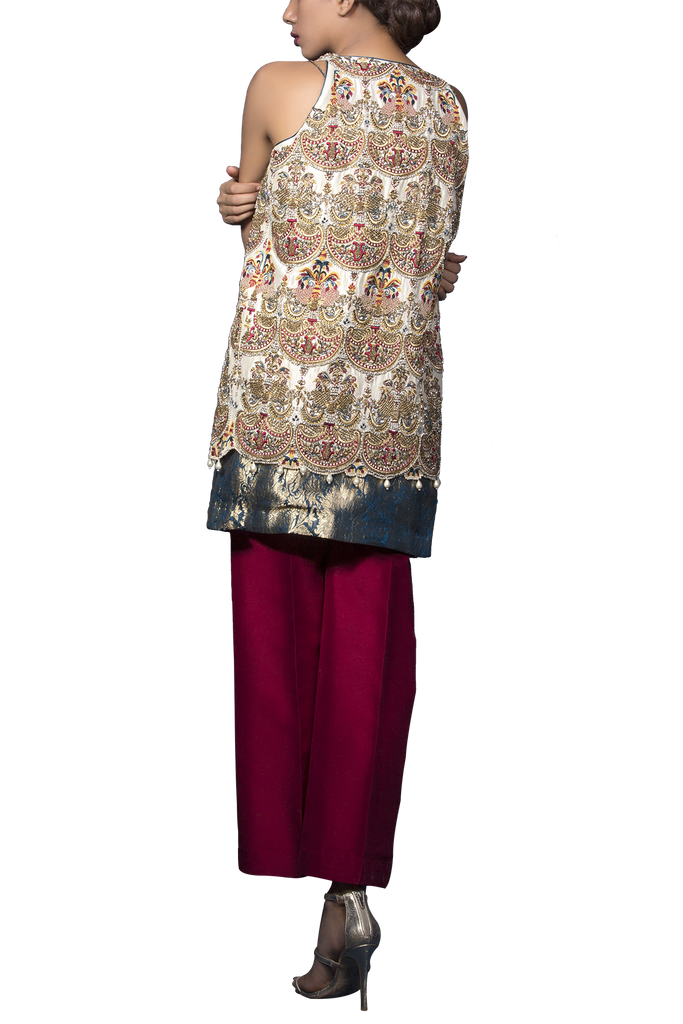Mahgul - ARAH Exquisitely Hand Worked Shirt With Slip & Raw Silk Pants