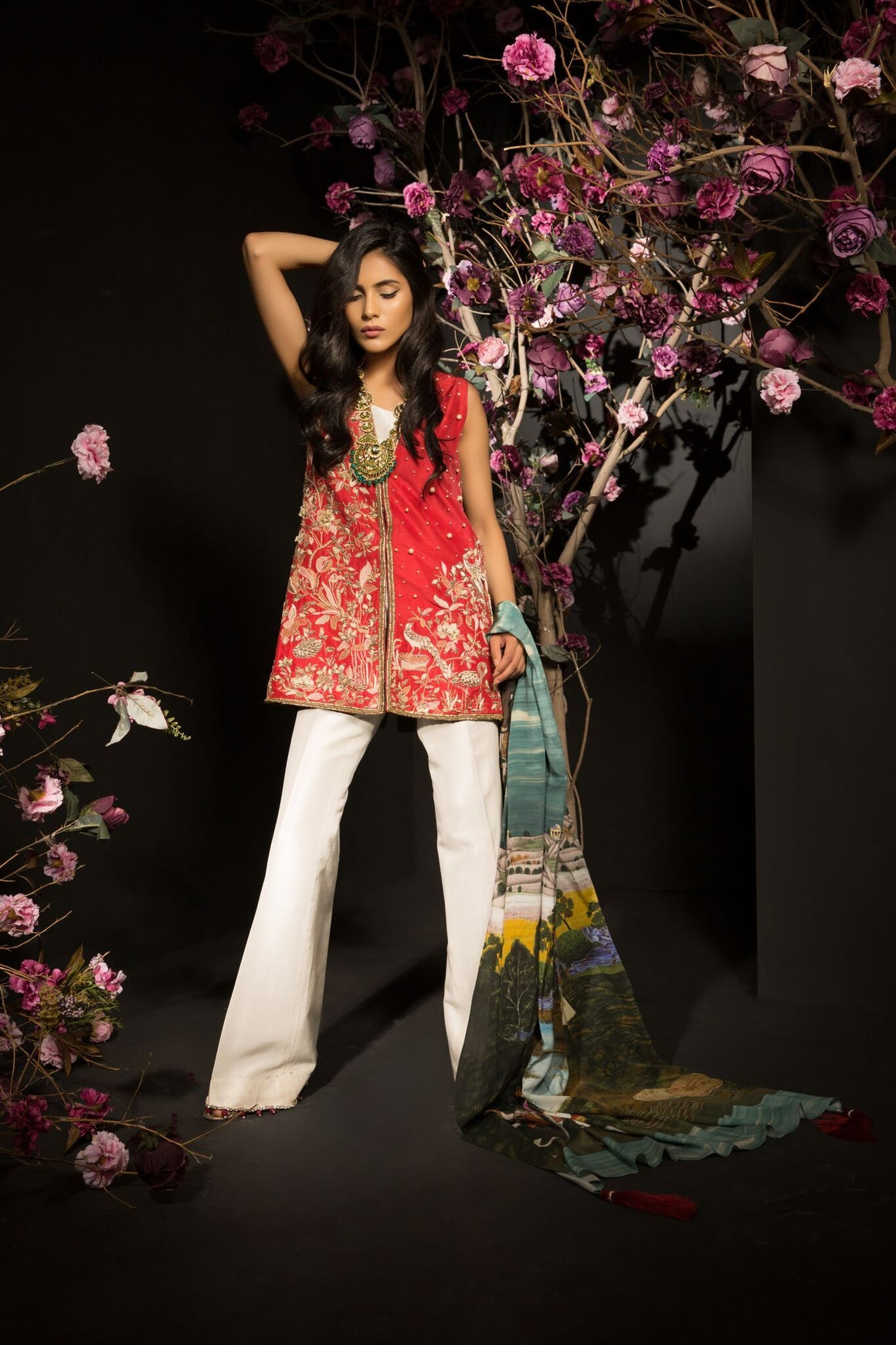 Mahgul - Be Bold - Printed & 3D Handworked Shirt With Pants & Dupatta