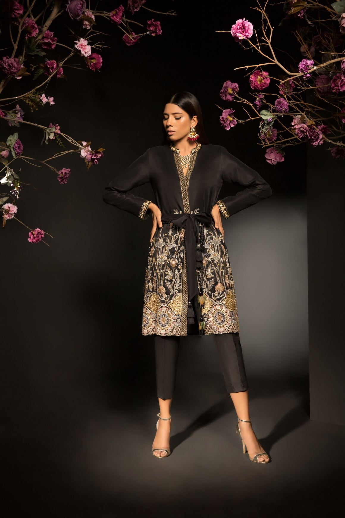 Mahgul - Streamlined Faux Jacket Silhouette Shirt With Pants & Belt