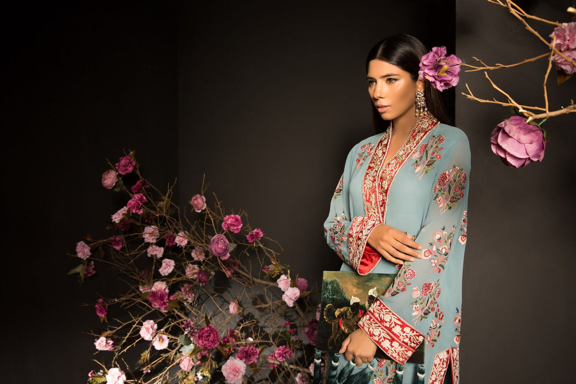Mahgul - Baby Teal Hand Embroidered Shirt & Pants