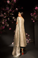 Mahgul - Classic Long Shirt & Cropped Izaar With Tissue Dupatta