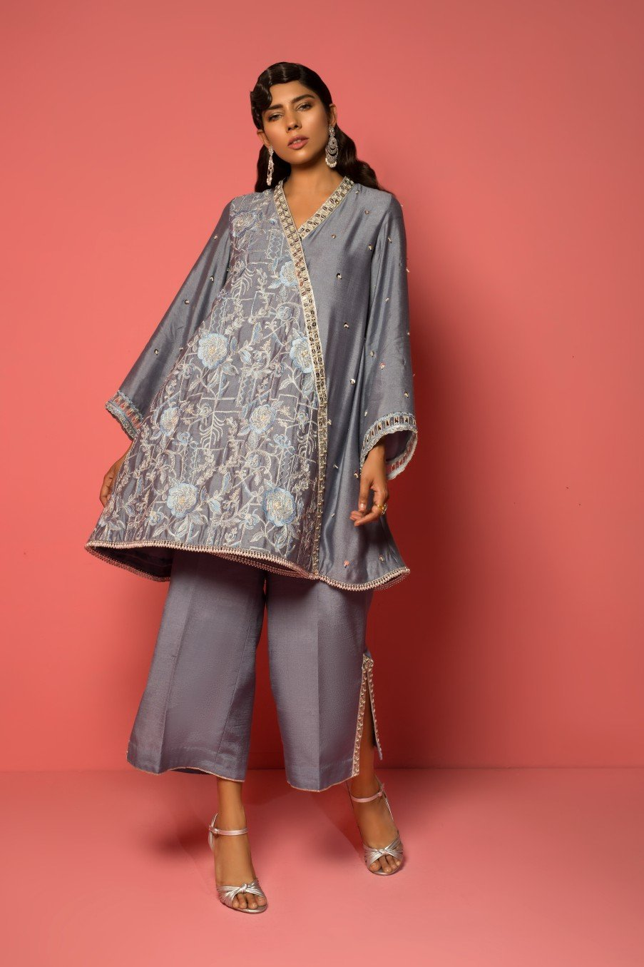 Mahgul - Embroidered Cotton Net Shirt With Raw Silk Pants