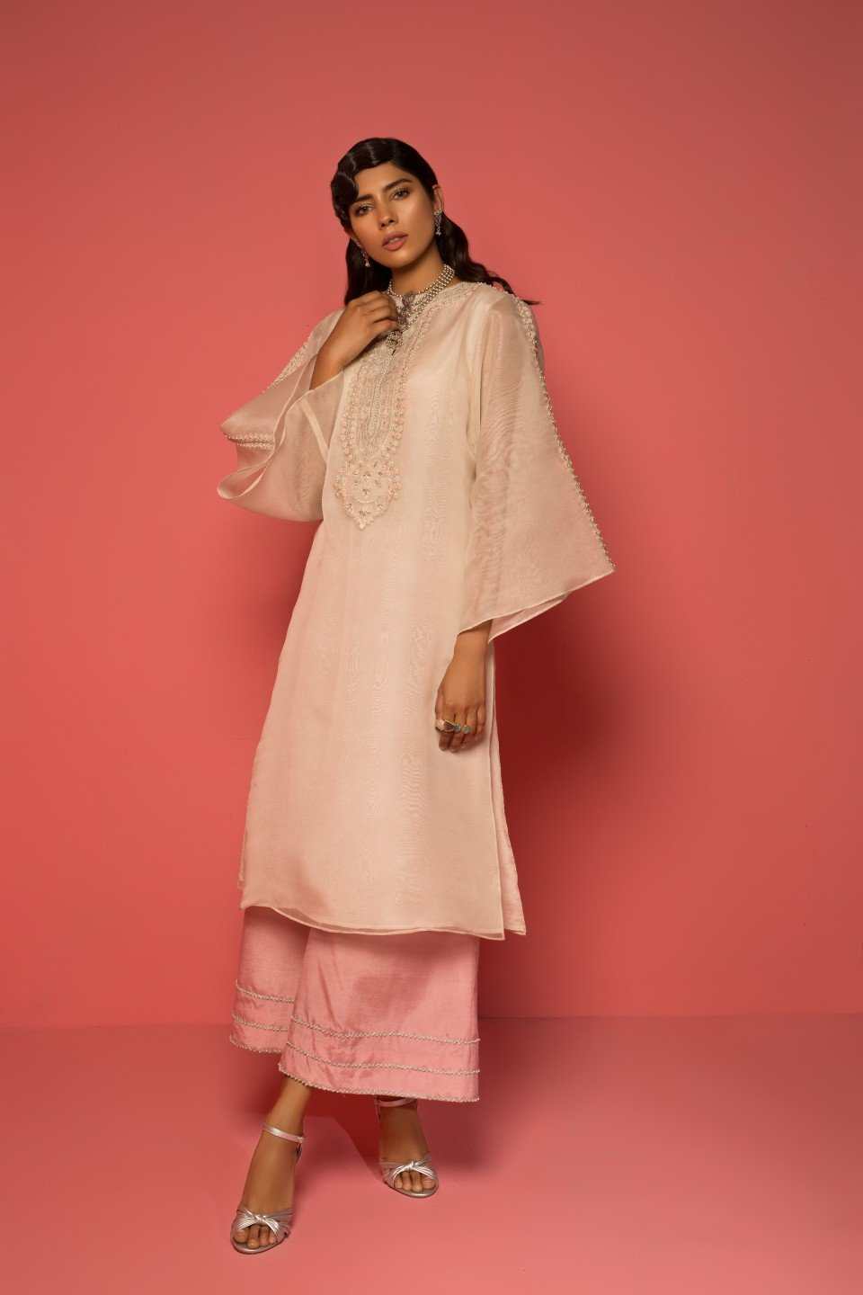 Mahgul - Embroidered Organza Top With Raw Silk Pants