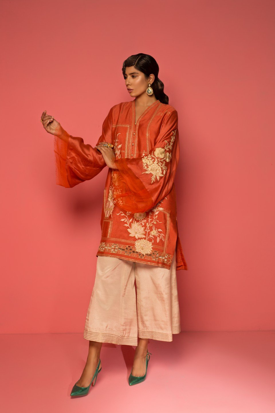 Mahgul - Orange Cotton Net Top With Raw Silk Pants