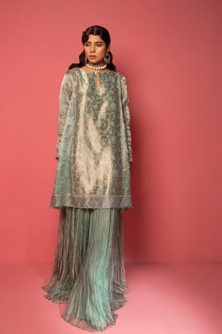 Mahgul - Teal Embroidered Shirt
