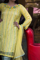 Dilaawaiz by Sahar - Yellow and Sea Green - ENS-016