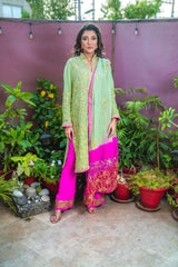 Designs by Amina - Green Gota Suit - Three Piece Stitched