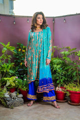 Designs by Amina - Blue Gota Suit - Three Piece Stitched