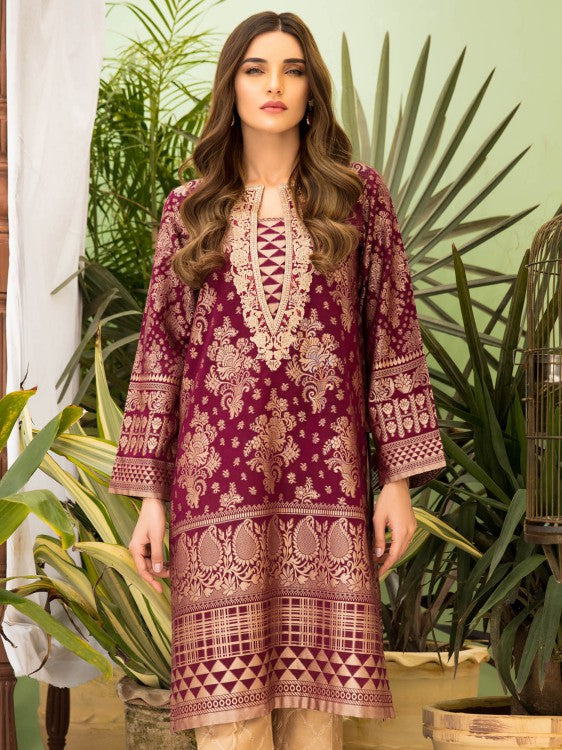 Limelight - Maroon Embroidered Jacquard Shirt - 1 PC - P3391