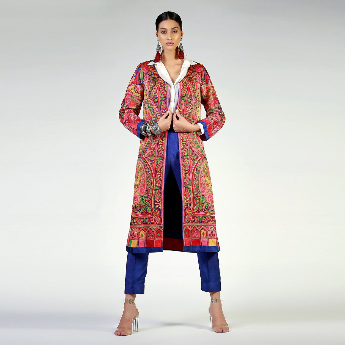 Rizwan Beyg - Kashmiri Shawl Inspired Long Resham Coat