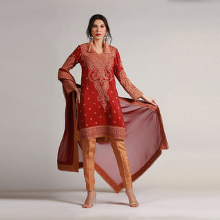 Rizwan Beyg - Heavy Marori Embroidered Deep Red Viscose Silk Shirt with Dupatta