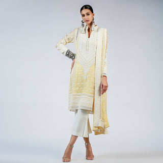 Rizwan Beyg - Chinese Collar Marori Embroidered Yellow Kali Shirt with Dupatta