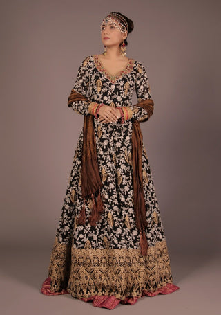 Huma Adnan - Black Chiffon Long Dress
