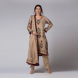 Rizwan Beyg - Biscuiti Flower Kali Shirt With Bordered Dupatta