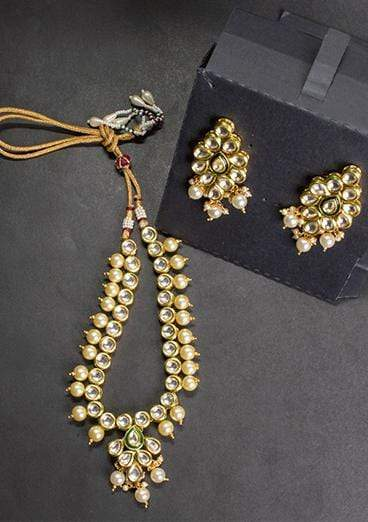 Designs By Amina - Kundan Necklace And Earrings In Pearl