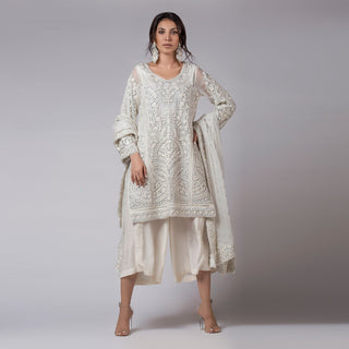 Rizwan Beyg - Silk Floss & Silver Outlined Heavily Embellished Kali Shirt with Dupatta