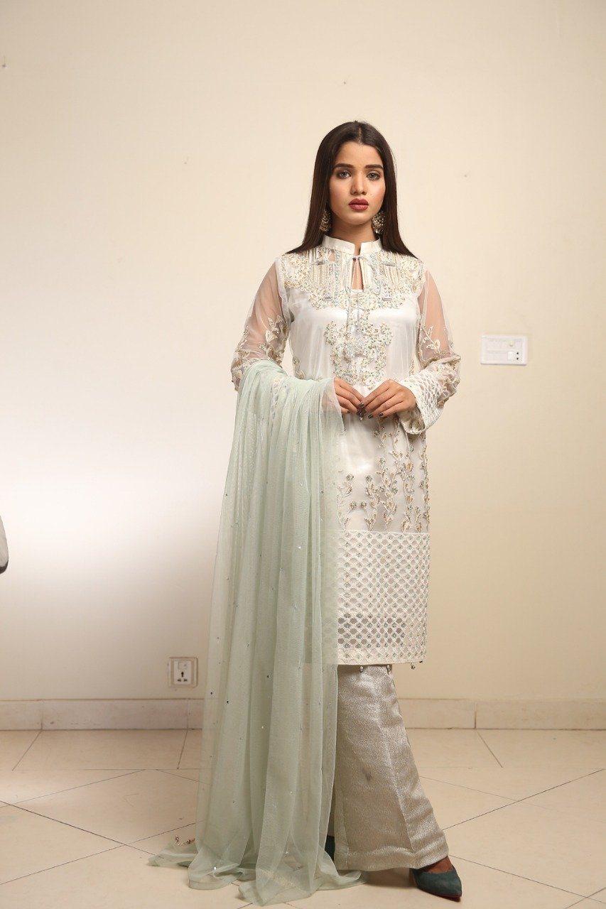 Maliha Kamal - Off White Aqua Snow