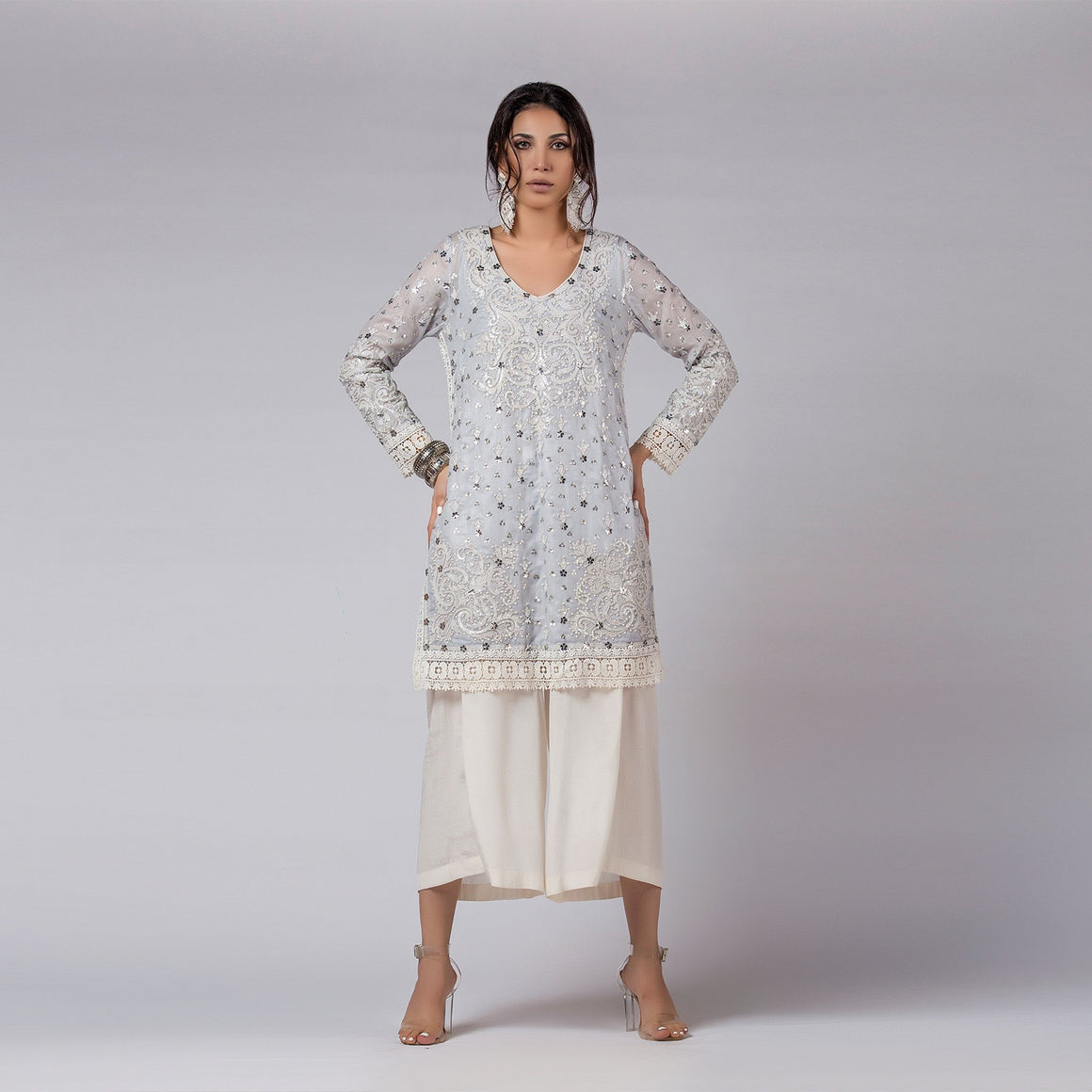 Rizwan Beyg - Blue Shadow Pearls And Sequins Embellished Shirt with Dupatta