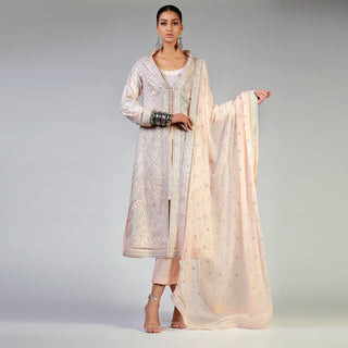 Rizwan Beyg - Dori Work On Blush Coat with Dupatta