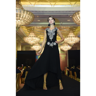 Rizwan Beyg - Black Paisleys 3d Flowers Long Dress