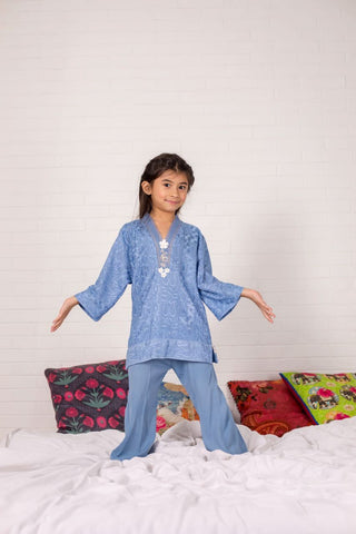 Shehrnaz - Blue Embroidered Firdous Kurta