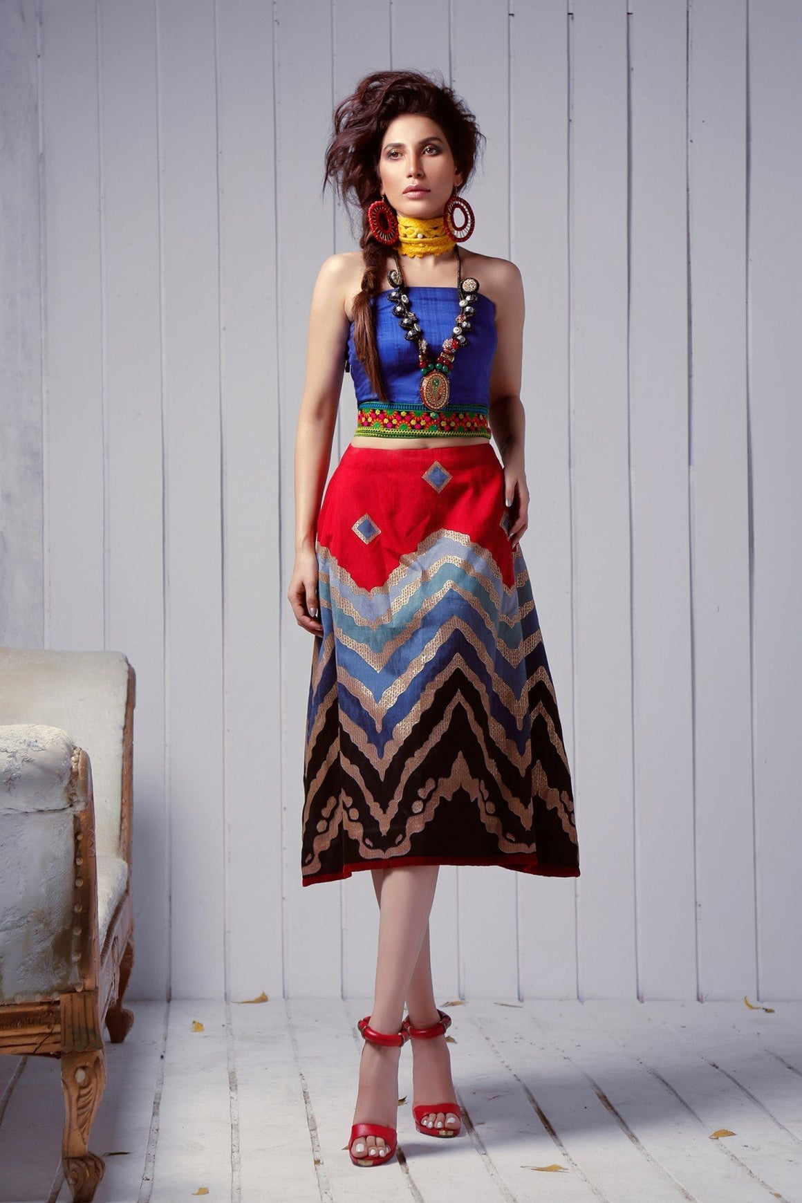 Huma Adnan - Blue Top With Skirt