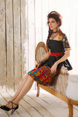 Huma Adnan - Jamawar Top With Chiffon Skirt