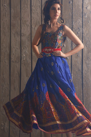 Huma Adnan - Blue Raw Silk Kameez/Dress