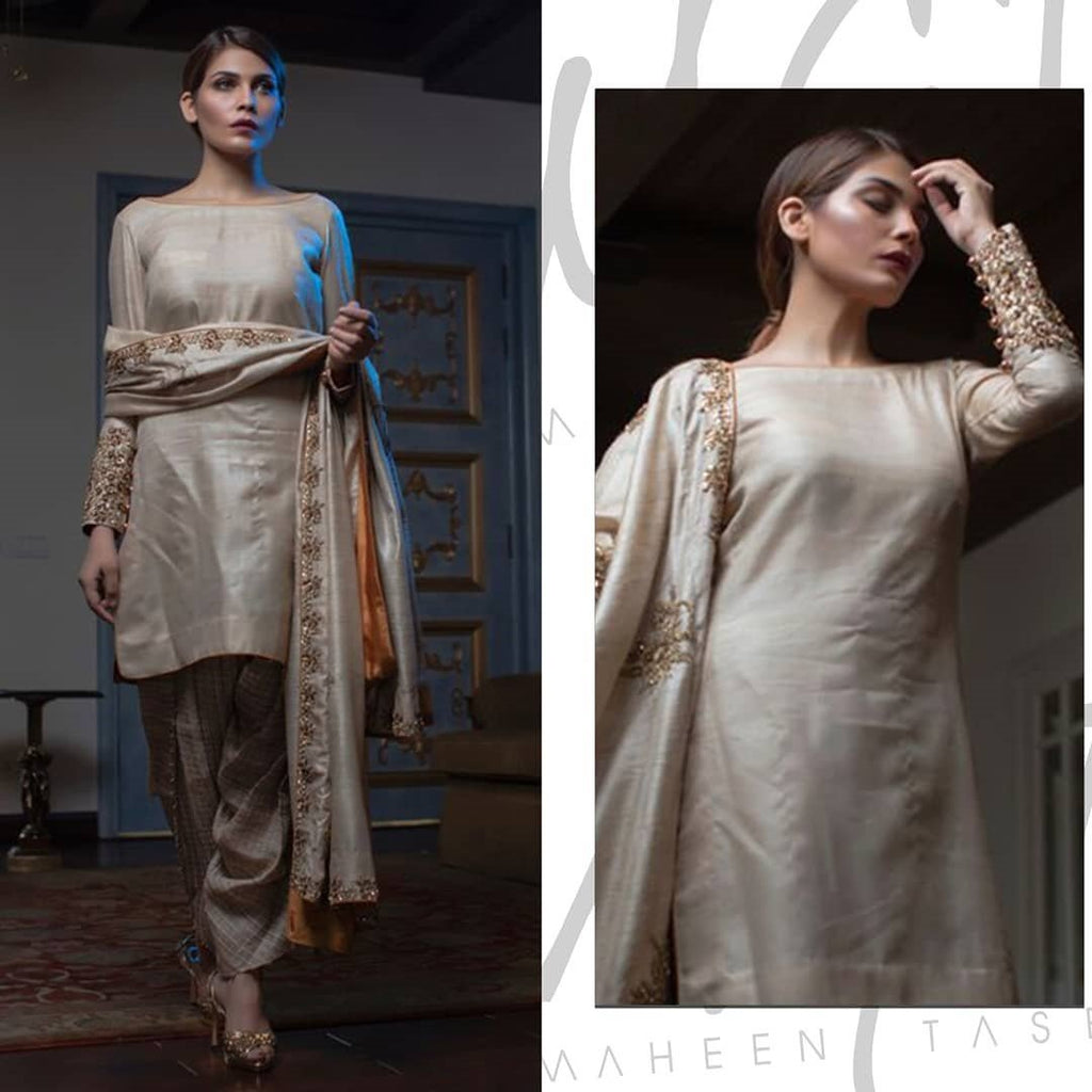 Maheen Ghani Taseer - Raw Silk Shirt & Trousers With Shawl