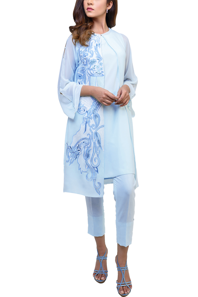 Natasha Kamal -  Bray Chiffon Jacket & Georgette Tunic With Lining & Raw Silk Trousers