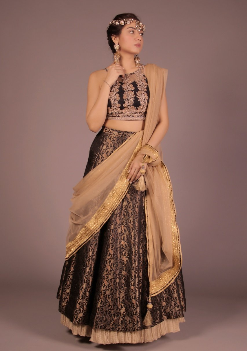 Huma Adnan - Black Halter Top With Skirt & Dupatta