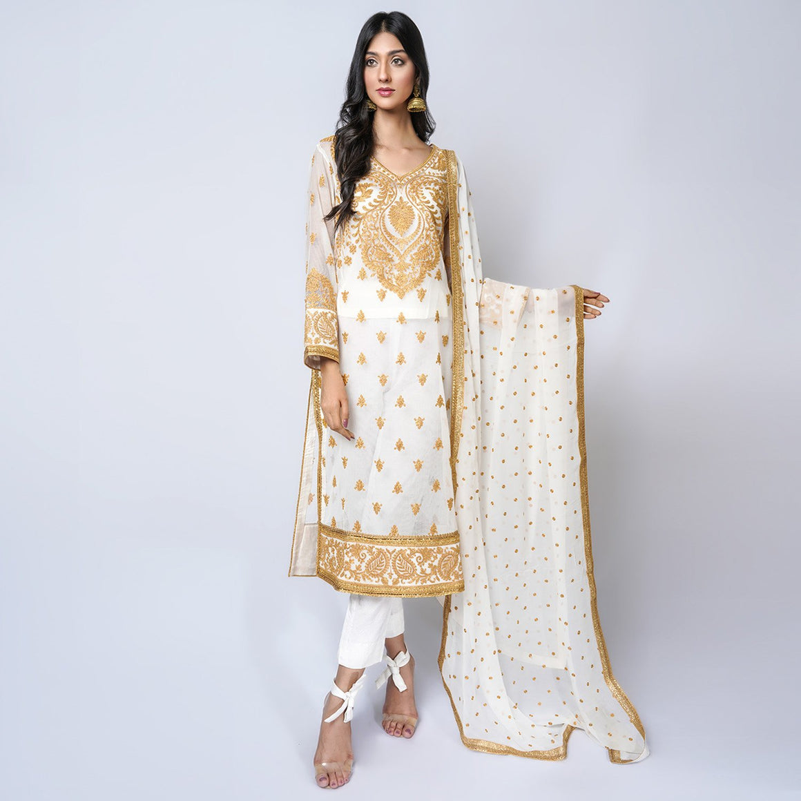Rizwan Beyg - Mateeni Kurta On Cotton Net Shirt with Dupatta