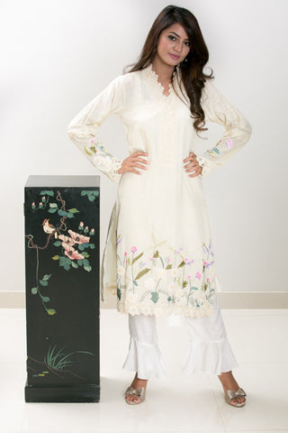 Mehr - Beige 3D Embroidered Pure cottton silk shirt