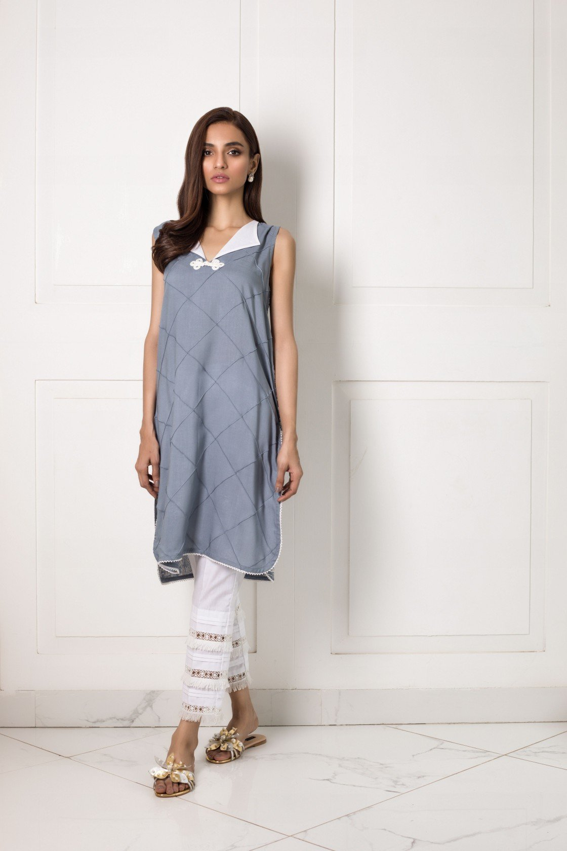 Shehrnaz- -Grey Shirt With Embroidered Back