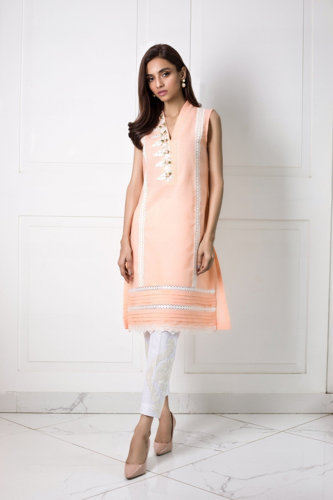Shehrnaz- -Peach Shirt with Floral Applique