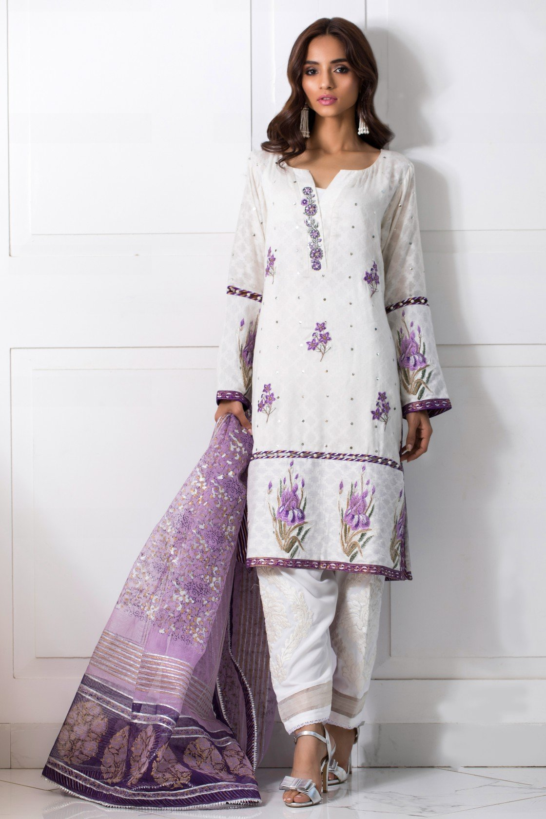 Shehrnaz - White Cotton Net Shirt With Purple Dupatta & White Shalwar