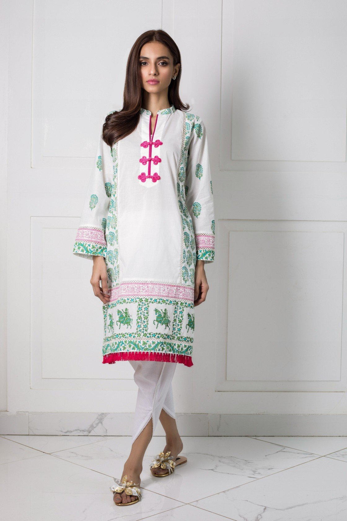 Shehrnaz- -White Shirt with Green Blockprint