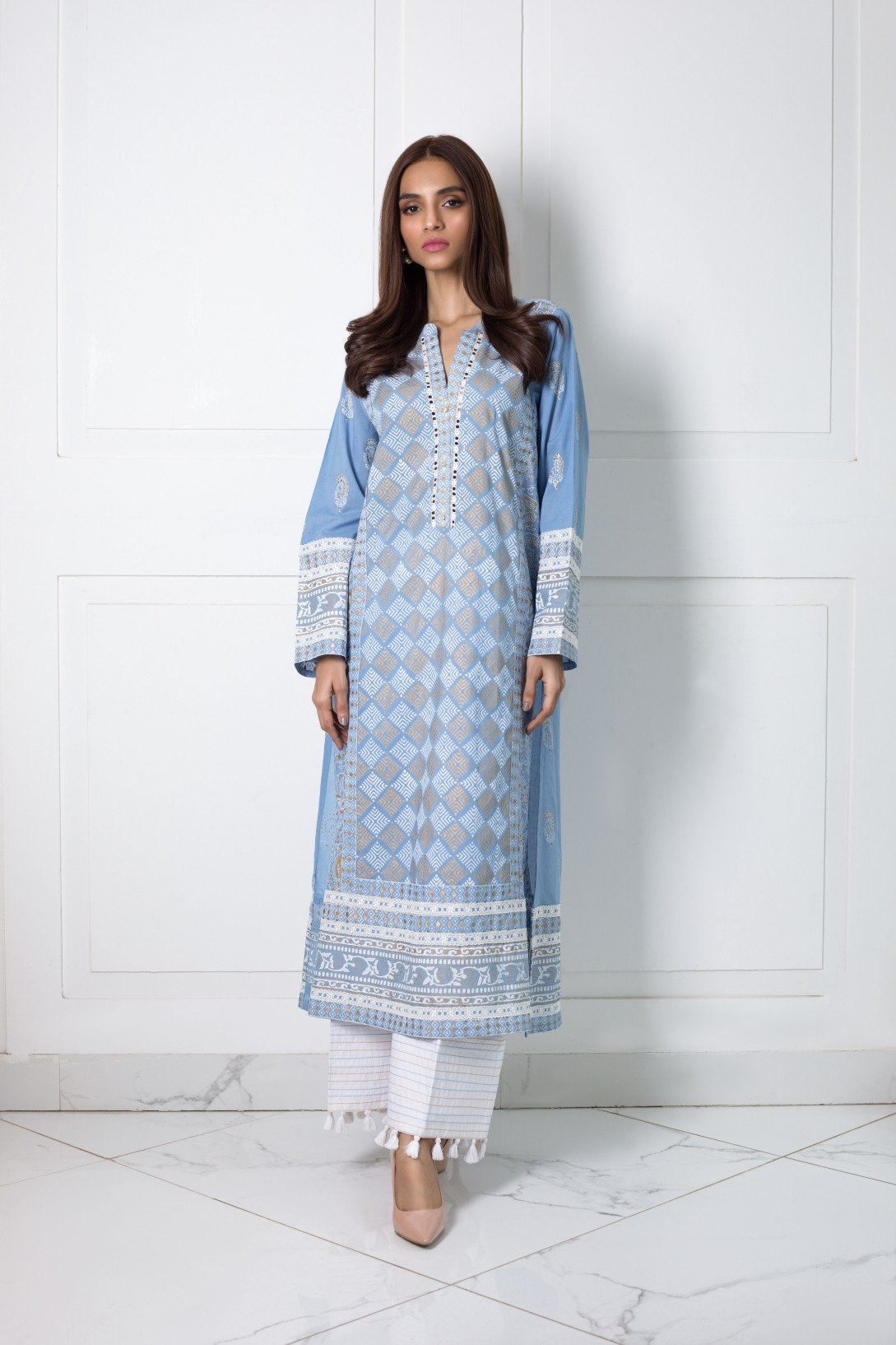 Shehrnaz- -Blue Kurta with White and Gold Blockprint