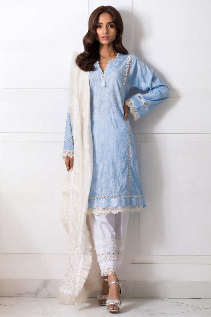 Shehrnaz - Light Blue Embroided Shirt