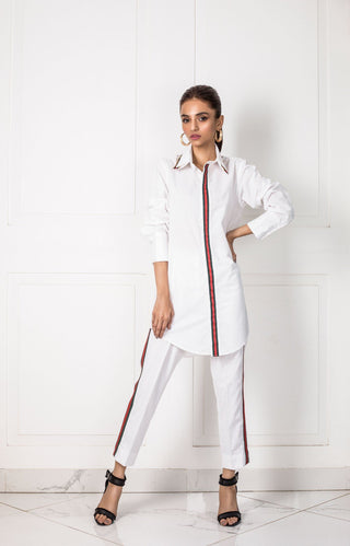 Shehrnaz- -White Shirt with Red and Green Detailing