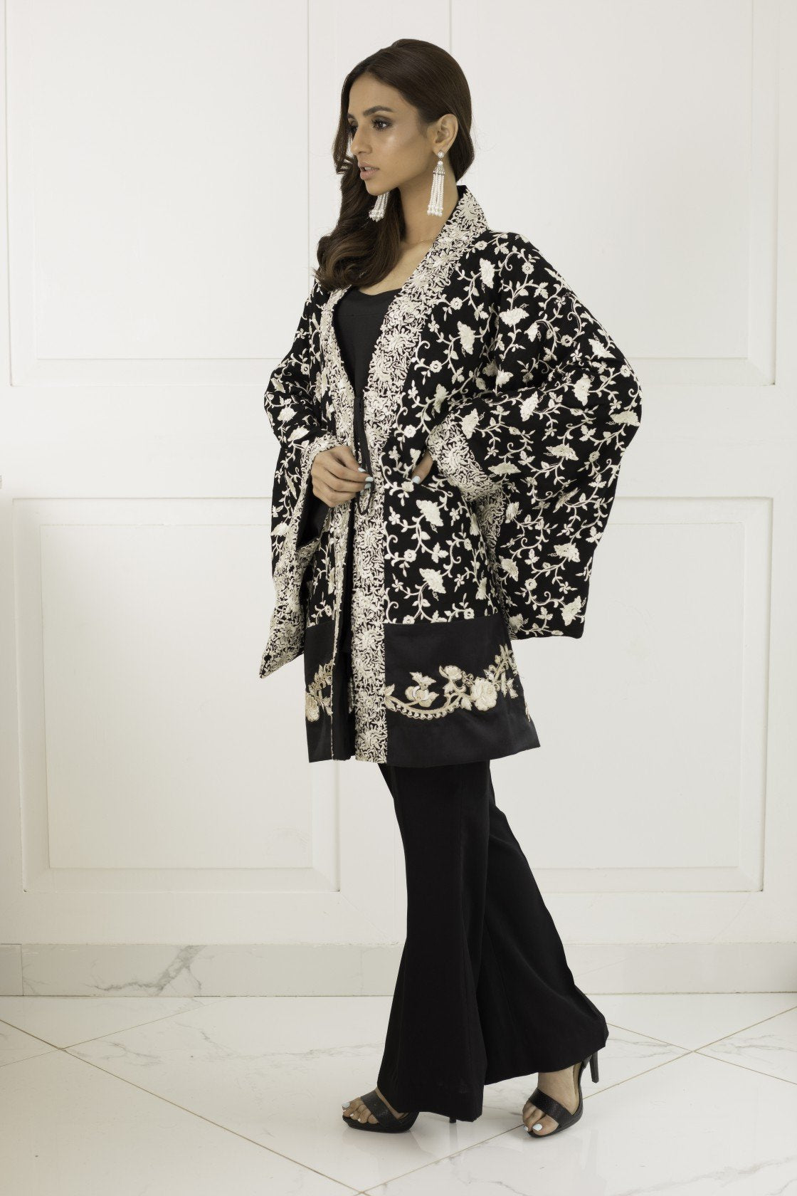 Shehrnaz - Black Gara Embroidered Kimono with Bell Bottoms