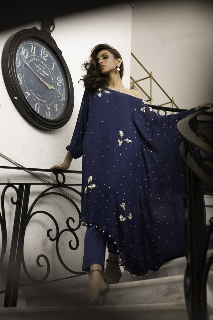 Shehrnaz - Navy Blue Pearl Dust Tunic with Pants