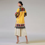 Rizwan Beyg - Suzani Silk Floss Embroidered Yellow Traditional Kurta