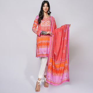 Rizwan Beyg - Baluchi Print Red Shirt with Dupatta