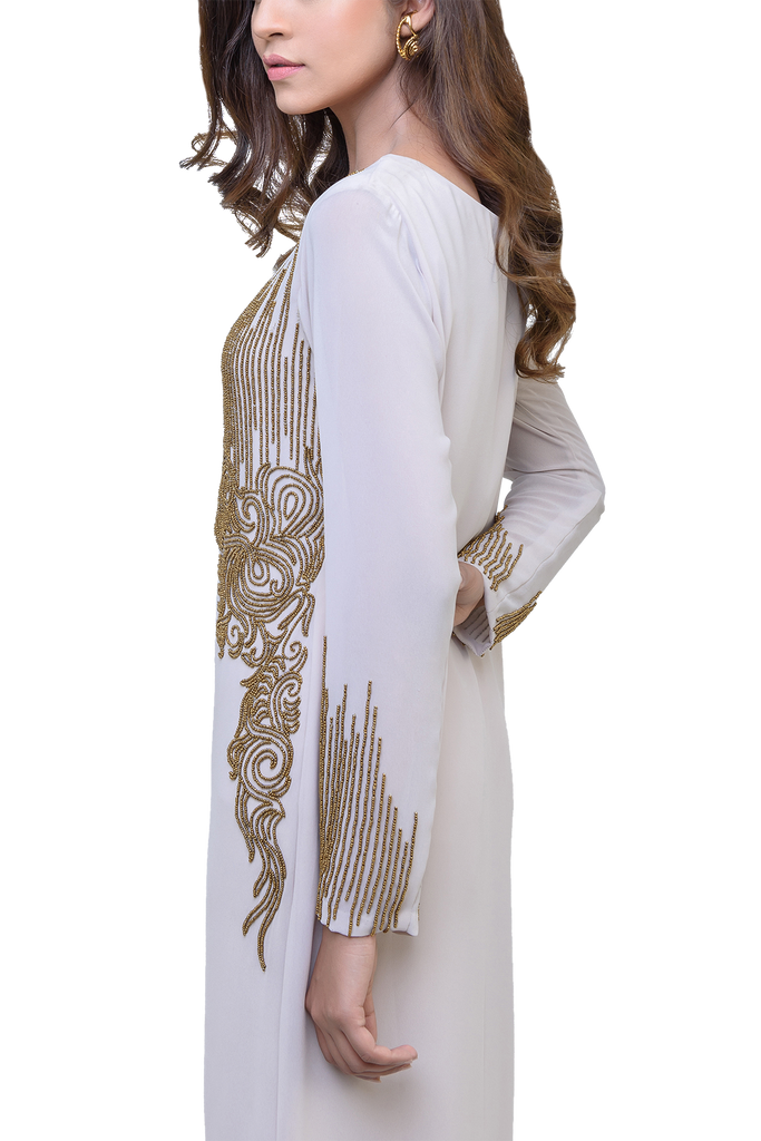 Natasha Kamal -  Leia Georgette Tunic With Lining & Raw Silk Trousers