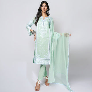 Rizwan Beyg - Marakesh Sage Green Kali Shirt with Dupatta