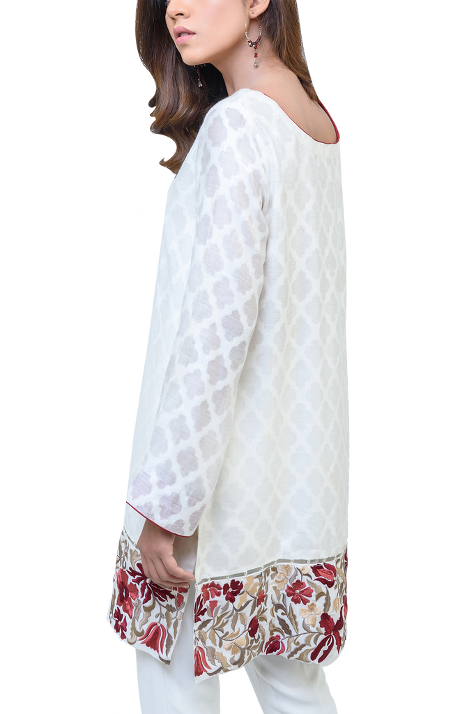 Natasha Kamal -  Eve Cotton Net Tunic With Silk Lining & Raw Silk Trousers